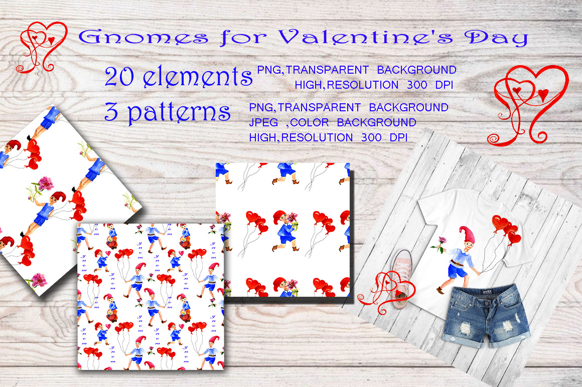 Clipart gnomes for Valentine's Day example image 2