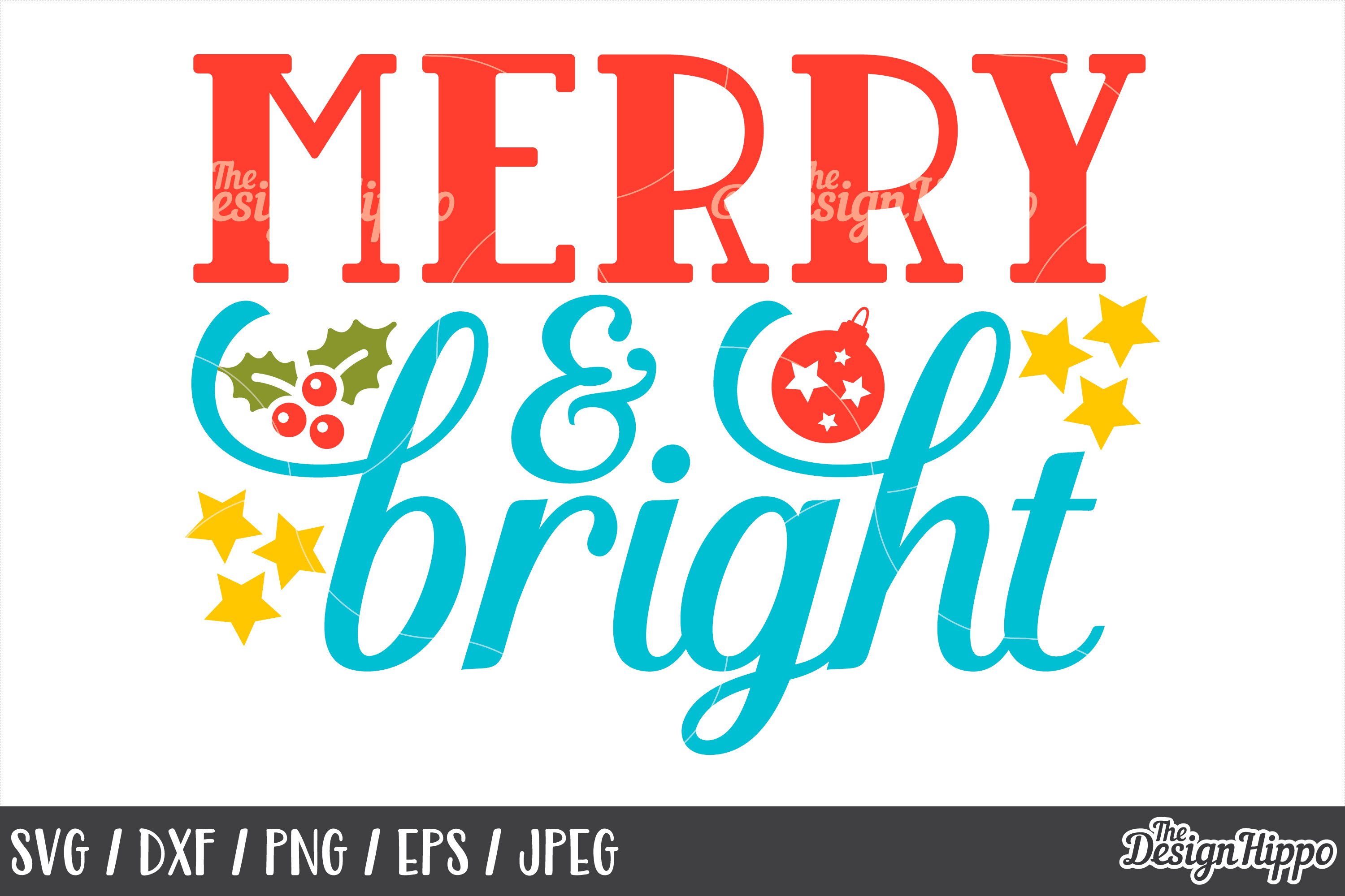 Christmas, Merry and Bright SVG, PNG, DXF, Cricut, Cut Files example image 1