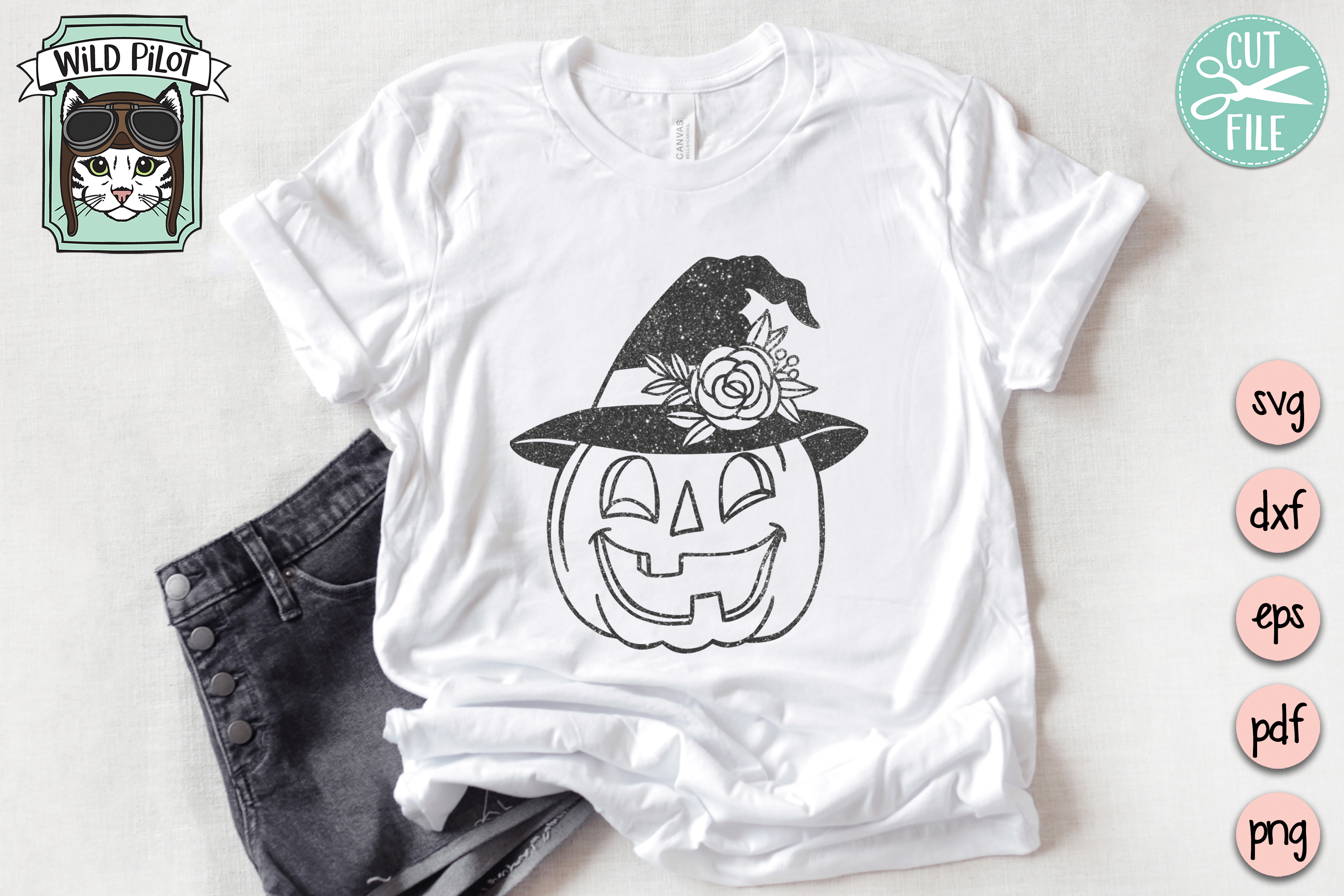 Pumpkin witch hat svg file, Jack o lantern cut file example image 4