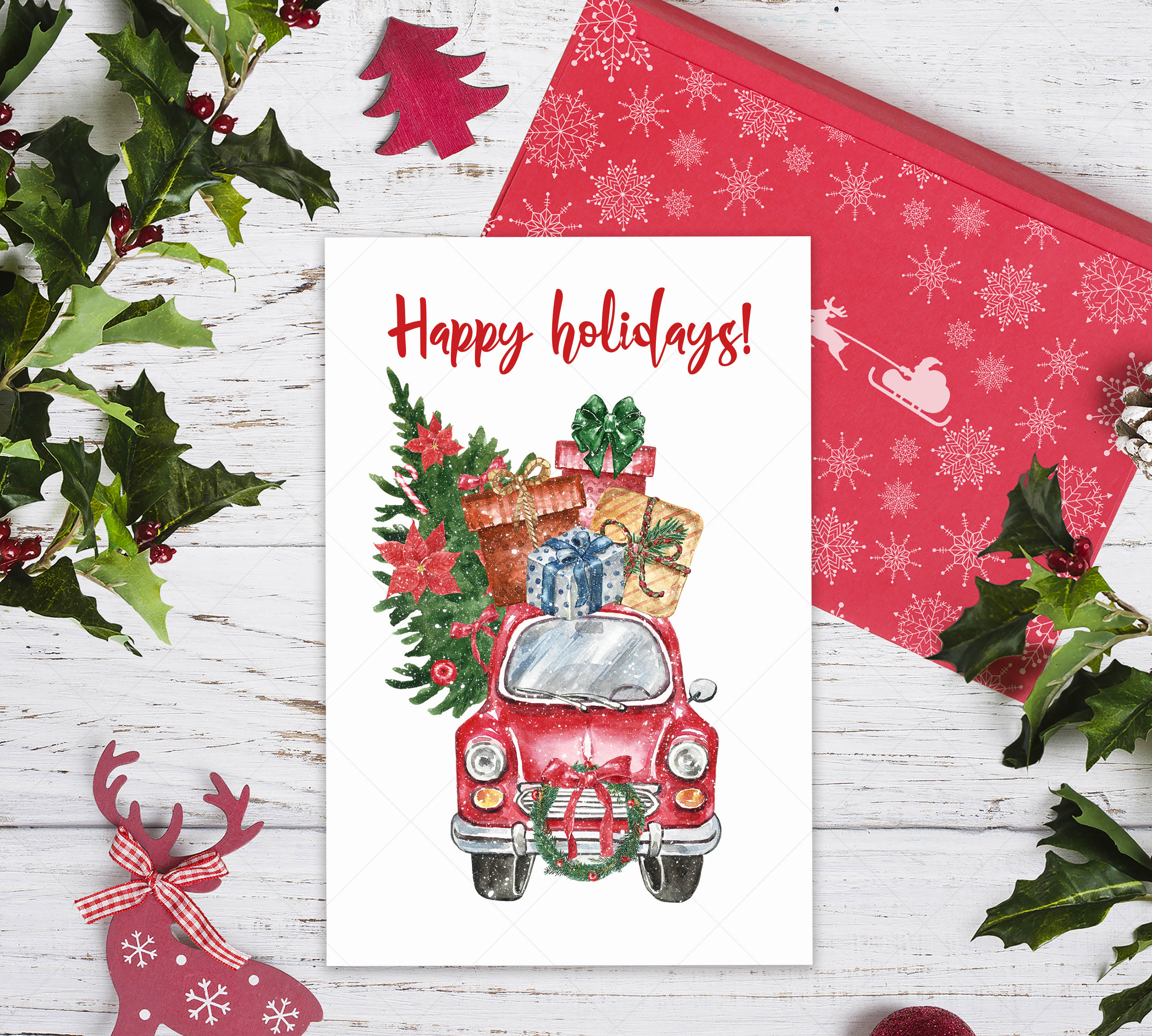 Watercolor Christmas Card Clip Art Holiday Card Set template example image 8