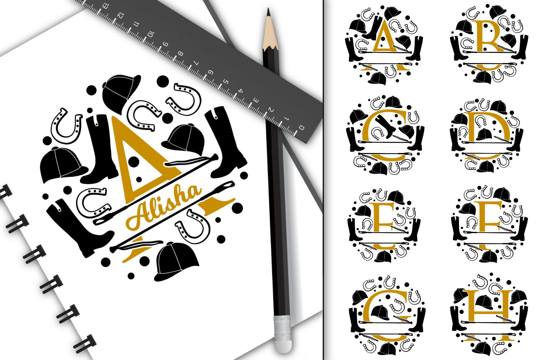 Split letters A-Z horse riding, alphabet, cut/sublimation example image 1