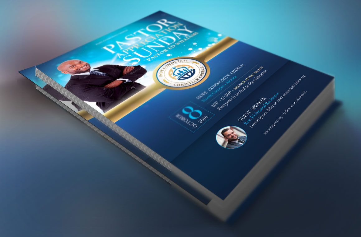 Blue Pastor Appreciation Flyer Template example image 2