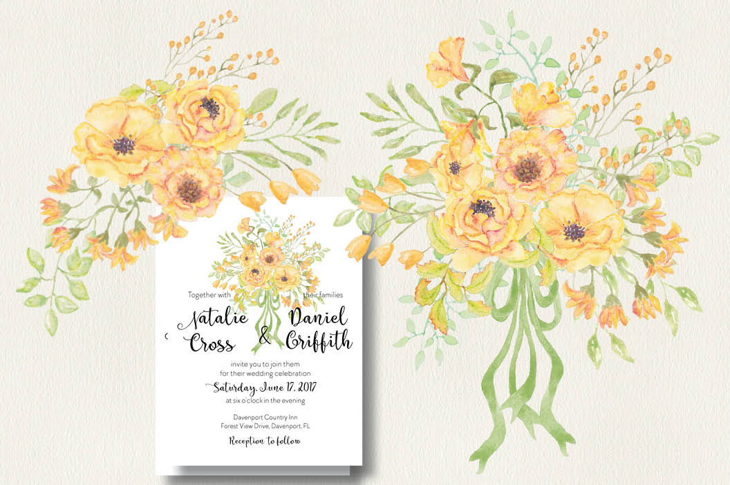 Watercolor clip art bundle: 'Buttercup Blooms' example image 5