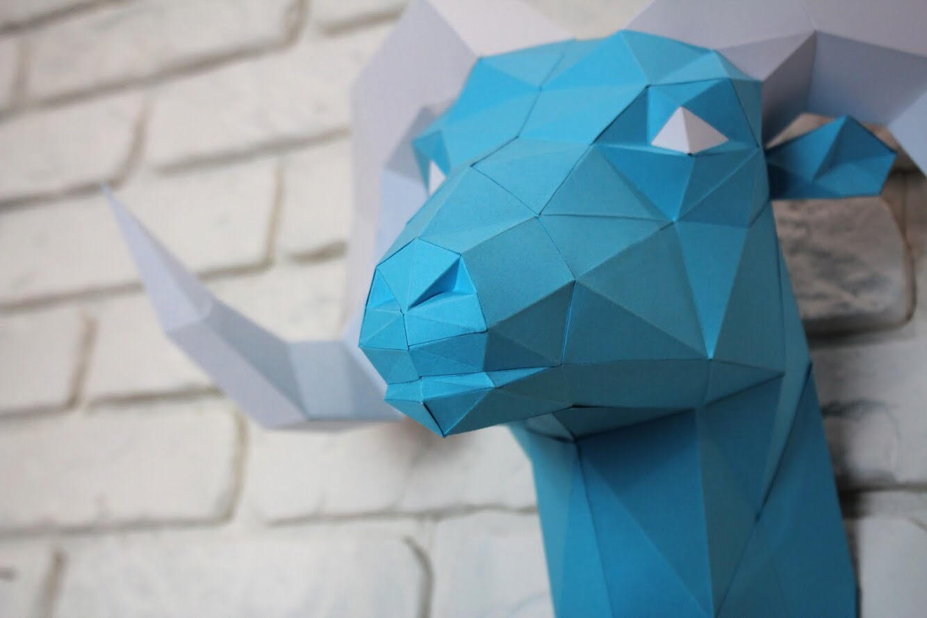 Diy Paper Sculpture - Ram Head, Paper Trophy, Animal Trophy, Loft Decor, Wall Decor, 3D papercraft model, animal head, lowpoly paper, DIY example image 2