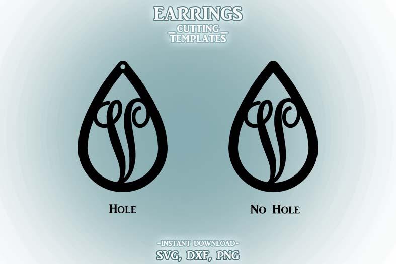 Letter V, Teardrop Monogram Earrings, SVG, Cut File, Cricut example image 2