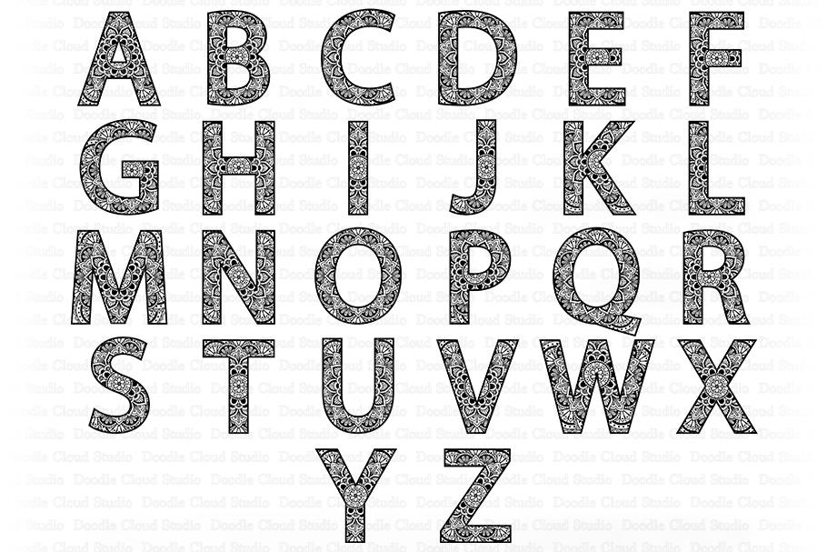 Layered Mandala Alphabet Svg  – 279+ File for DIY T-shirt, Mug, Decoration and more