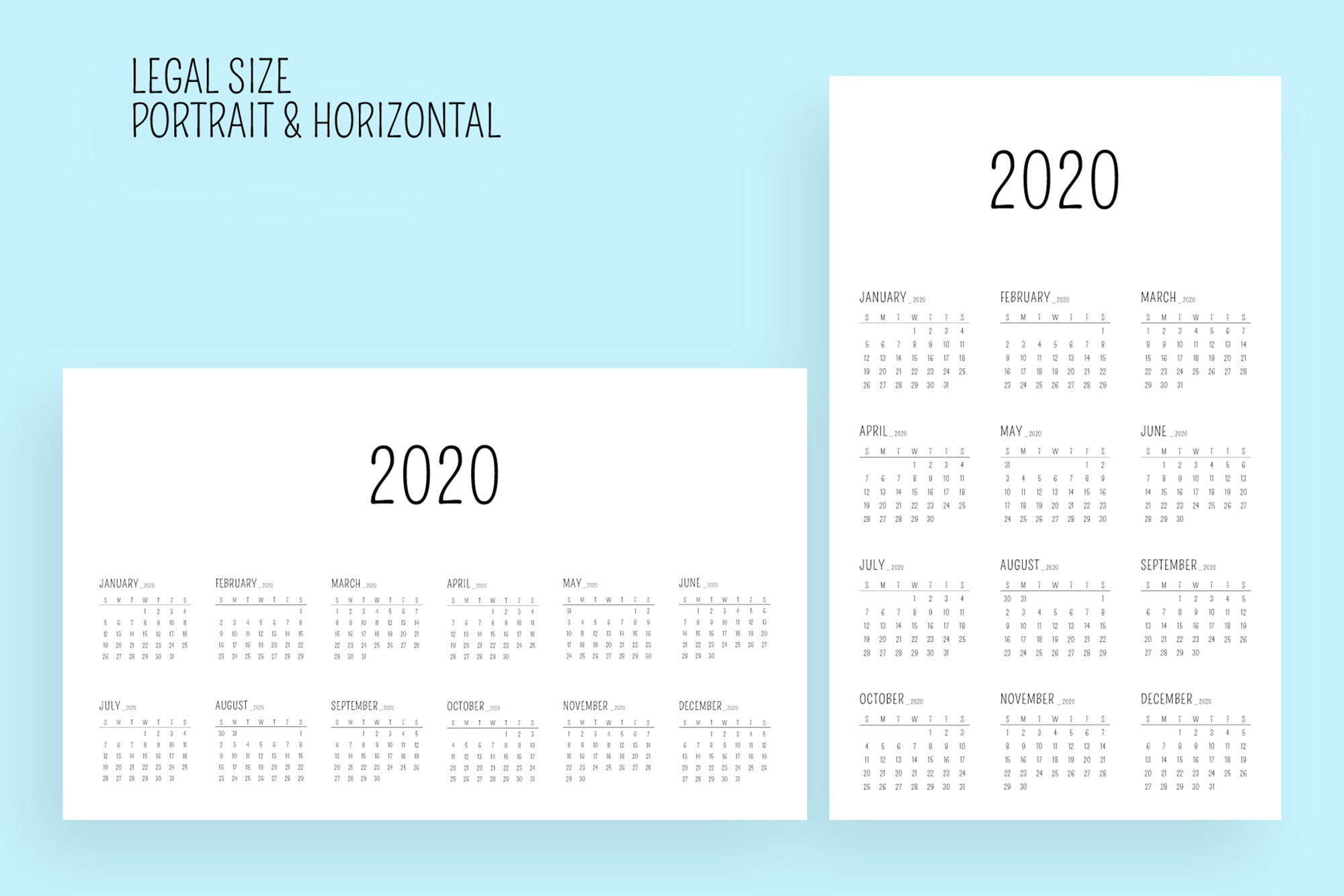 Minimal Calendar 2020 Template example image 6