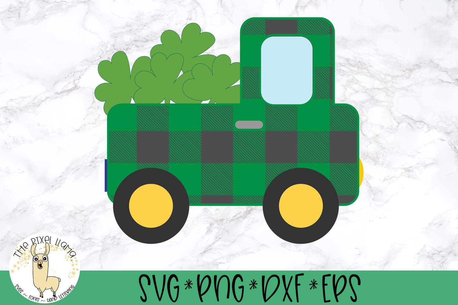 St Patrick's Lucky Plaid Truck SVG Cut File example image 2