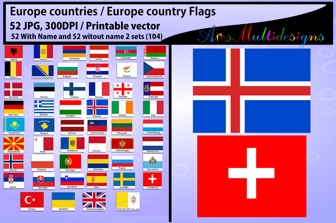 Europe countries / Europe country Flags / country flag / 300DPI / Vector flags / flag clipart and silhouette / printable flag/ digital flag example image 5