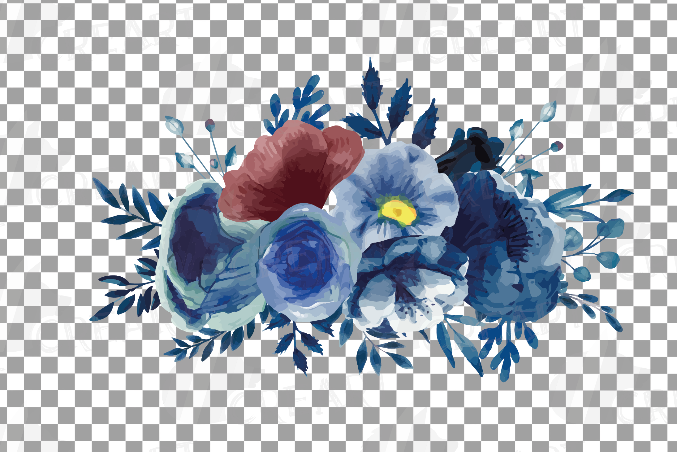 Navy blue and blush pink floral watercolor bouquets clip art example image 14