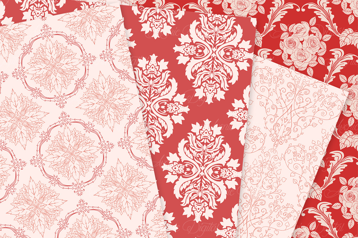 28 Red Damask Patterns - Seamless Digital Papers Bundle example image 6