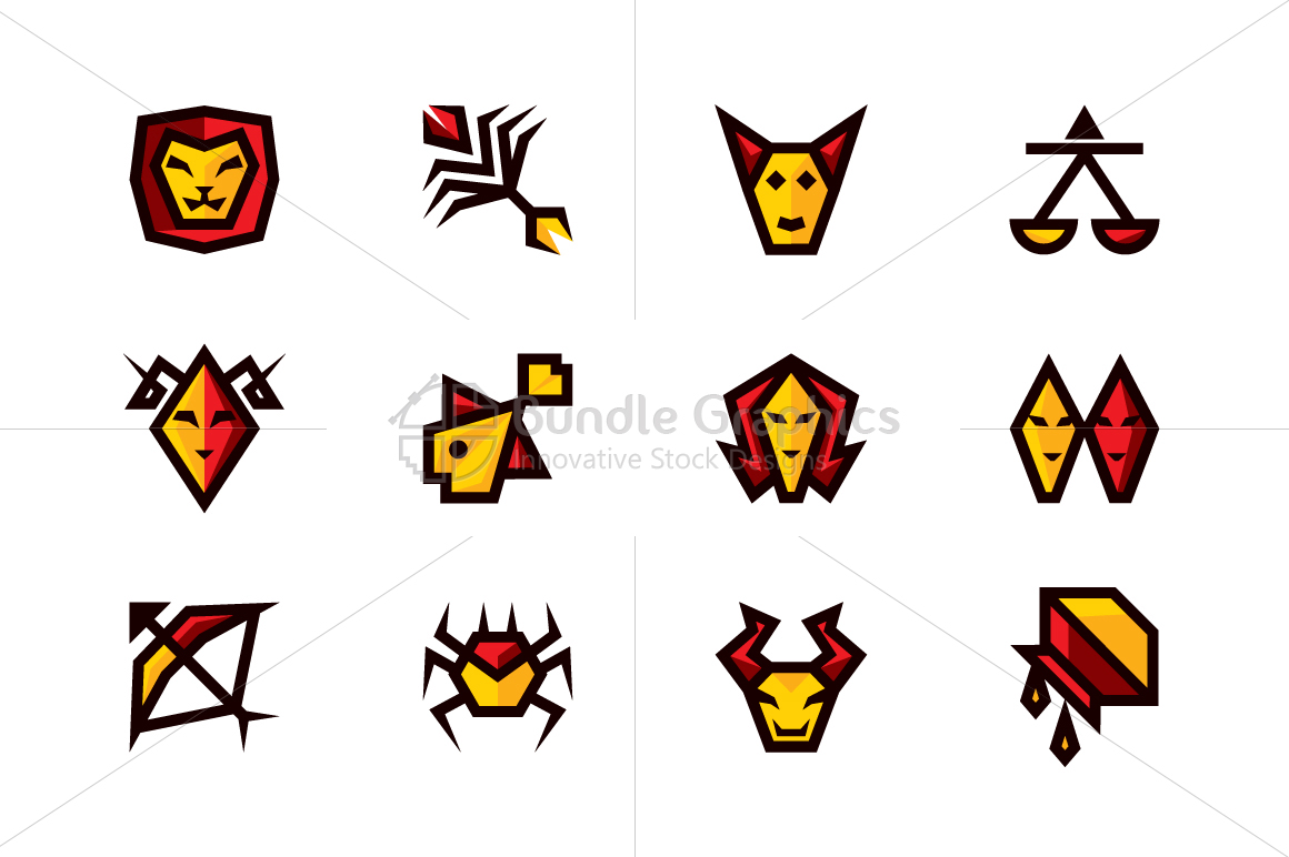 Bold Geometric Zodiac Signs - Vector Icon Set example image 1