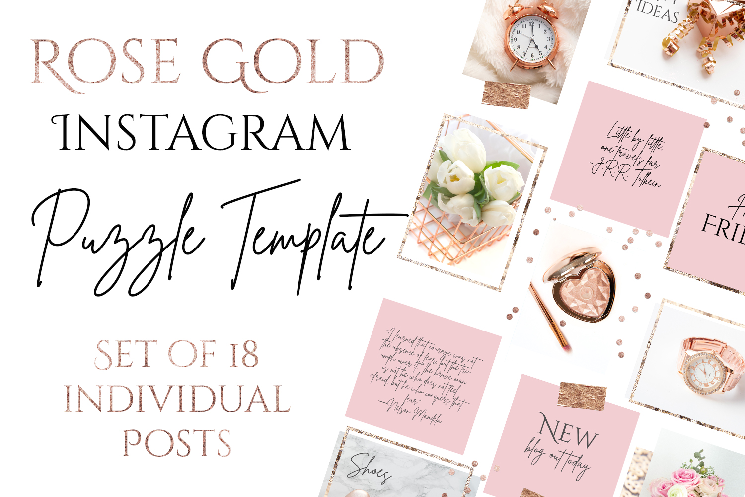 Rose Gold Instagram Puzzle Template - 15 Posts example image 1