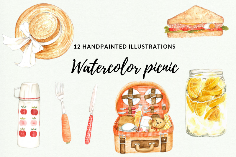 12 Watercolor Picnic Illustrations, Lemonade Party Picnic example image 1