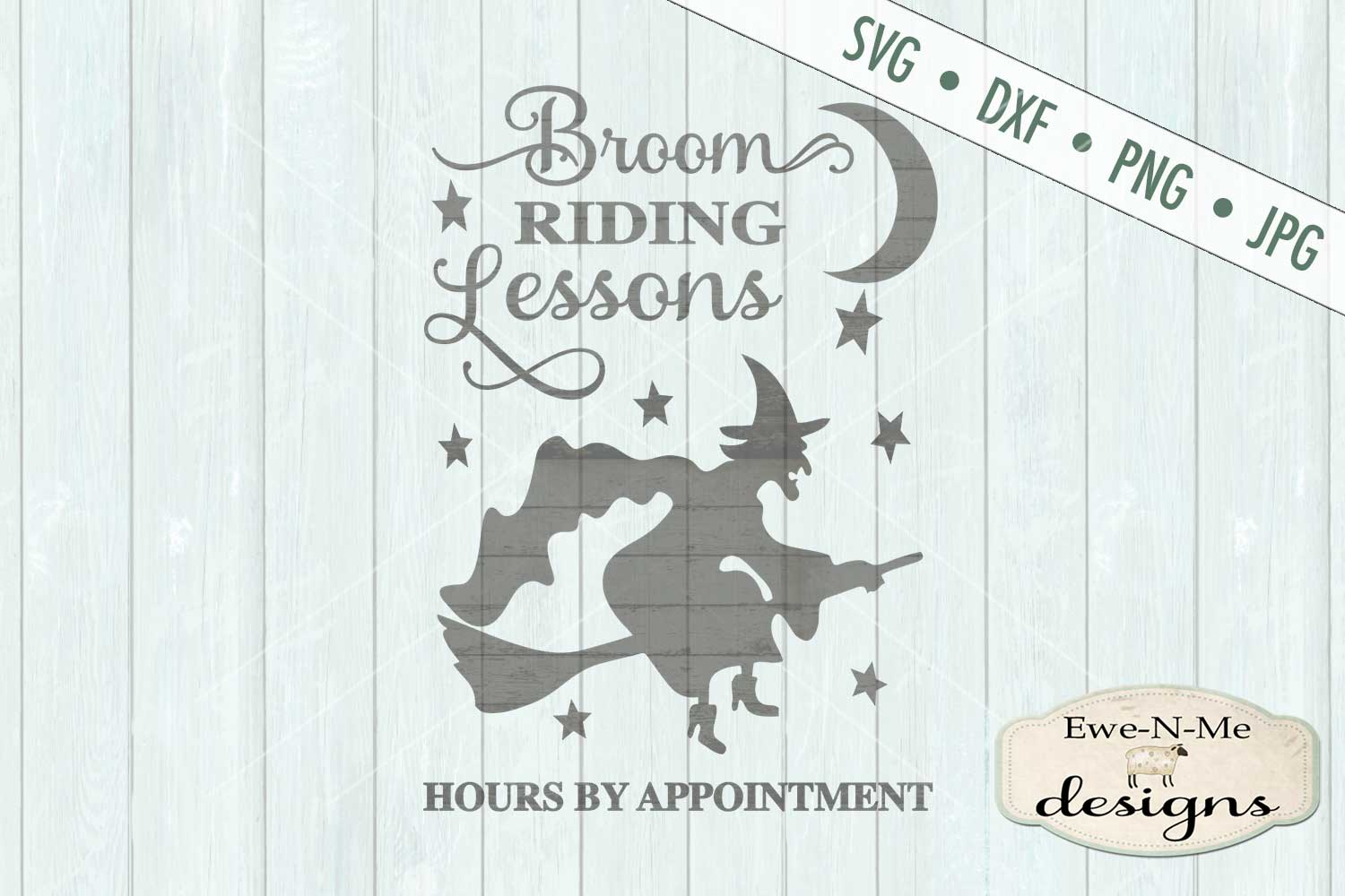 Broom Riding Lessons Witch Halloween SVG DXF Files example image 2