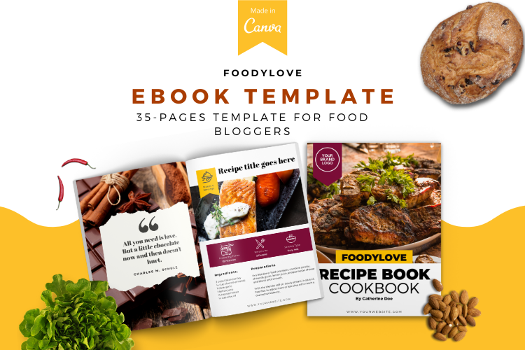 Food Lovers Recipe and Cookbook Canva Template Ebook example image 1