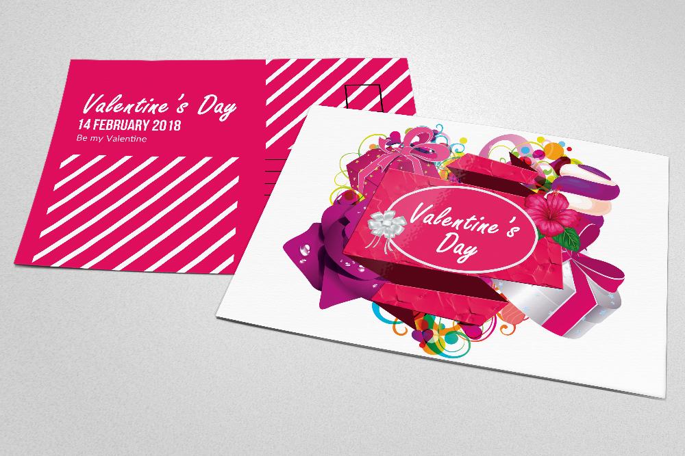 Valentine's Day Postcards PSD example image 3