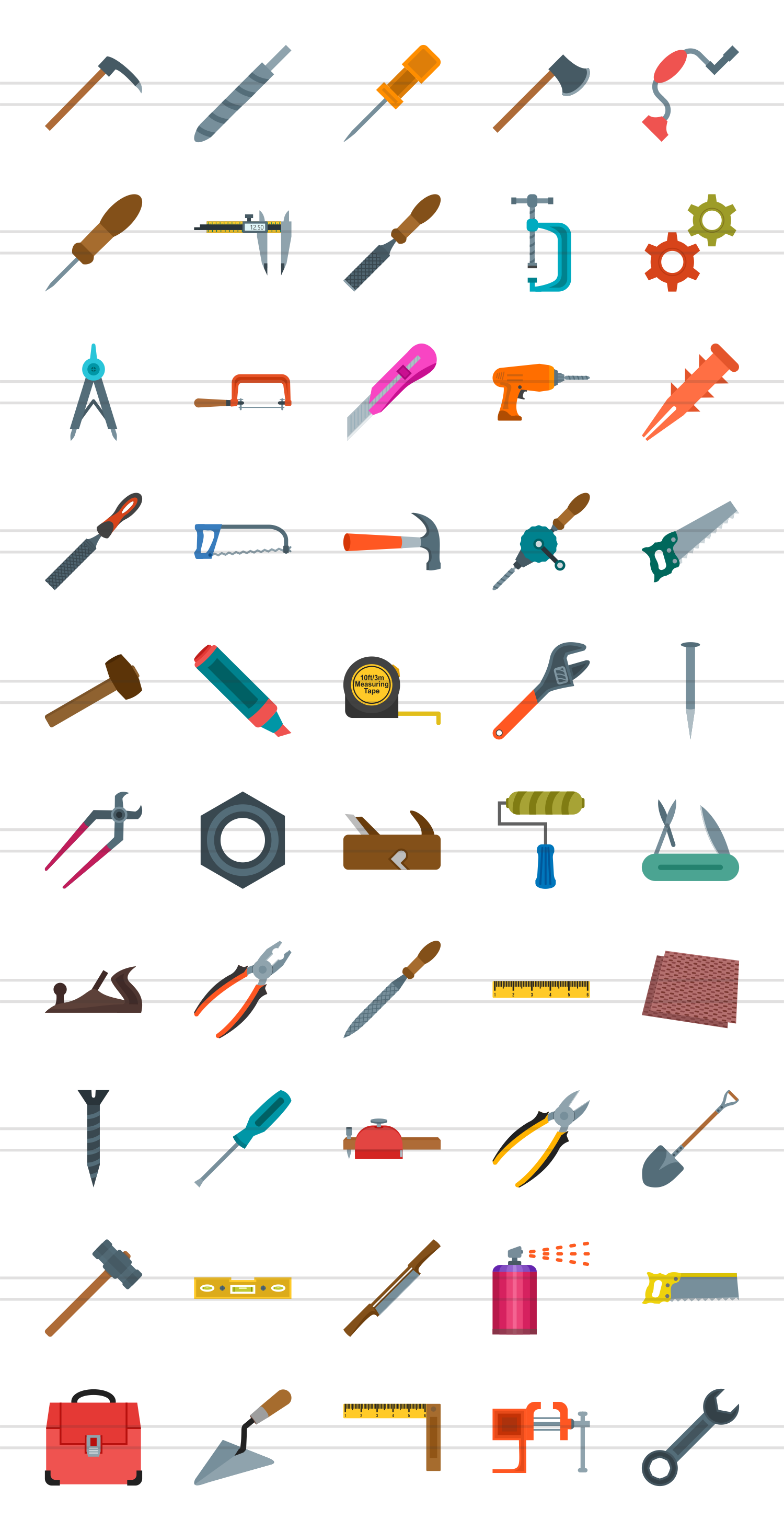 50 Hand Tools Flat Multicolor Icons example image 2