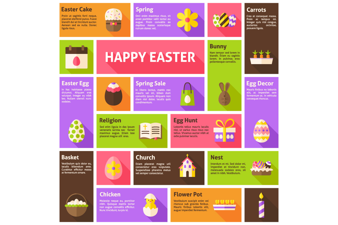 Happy Easter Flat Vector Infographic example image 2