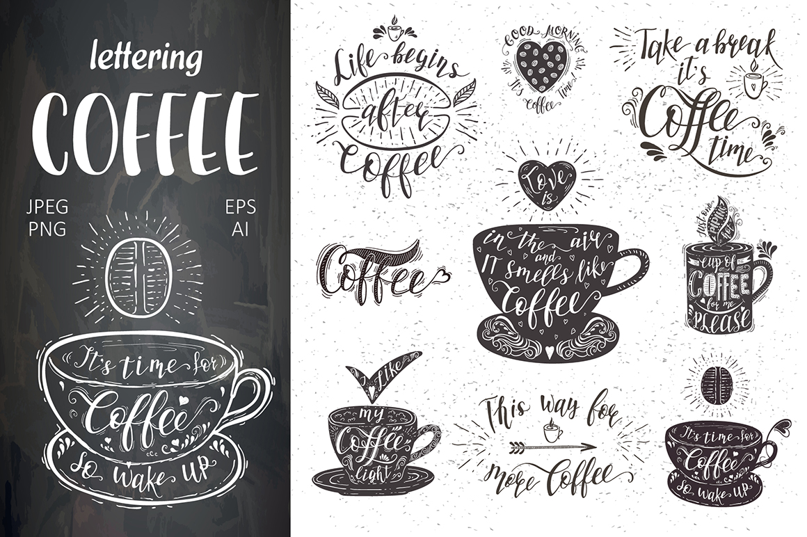 set of quotes for coffee lettering