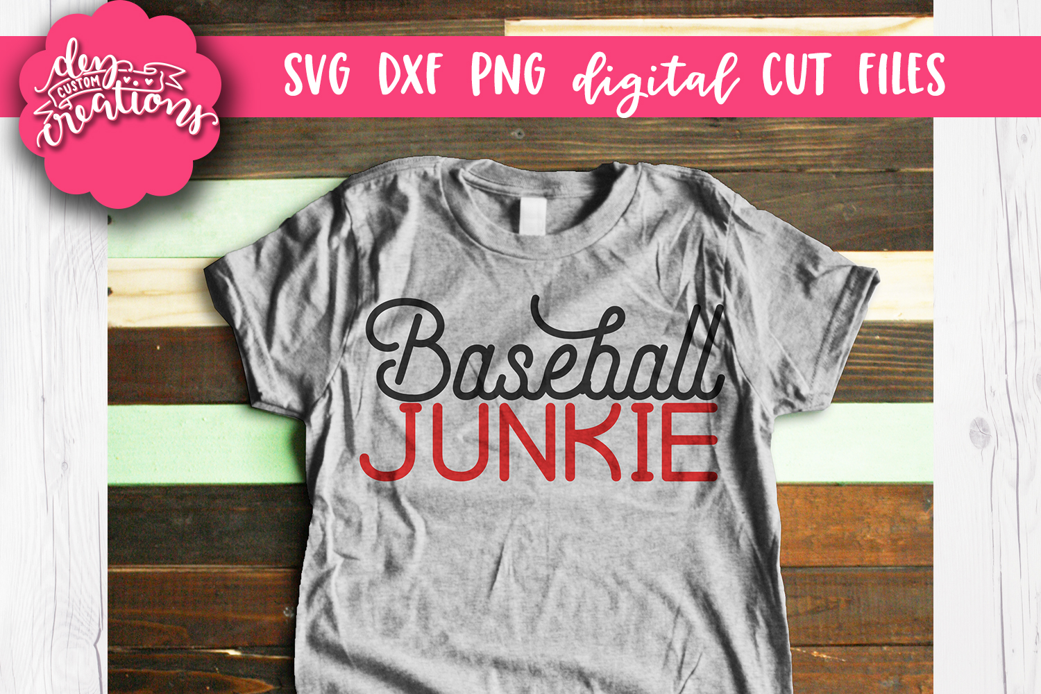 Baseball Junkie - SVG DXF PNG Cut files & Clipart example image 2