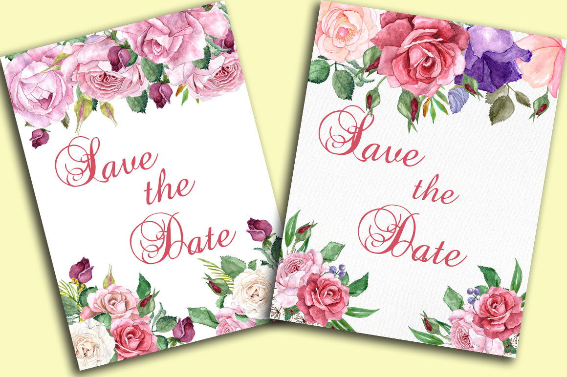 Watercolor roses clip art example image 2
