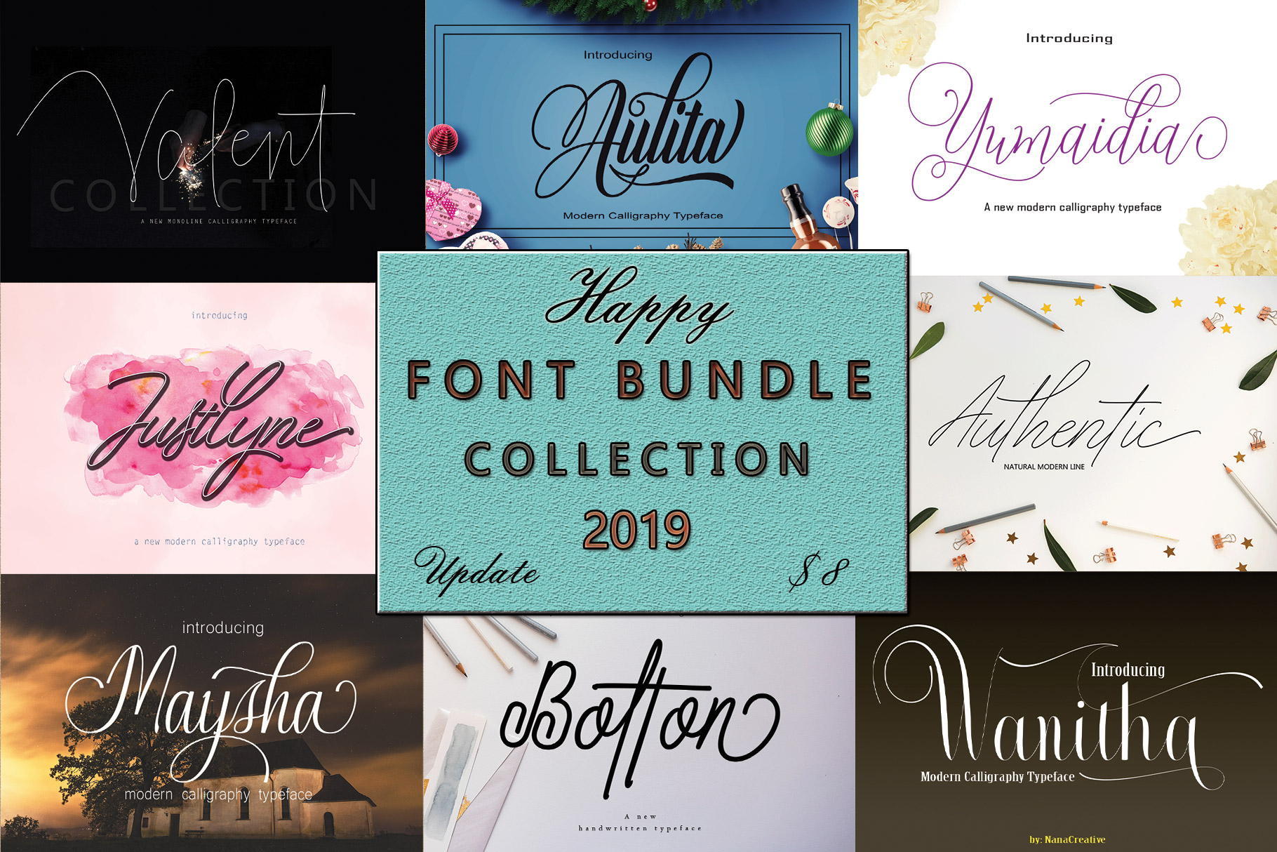 FONT BUNDLE COLLECTION 2019 example image 1