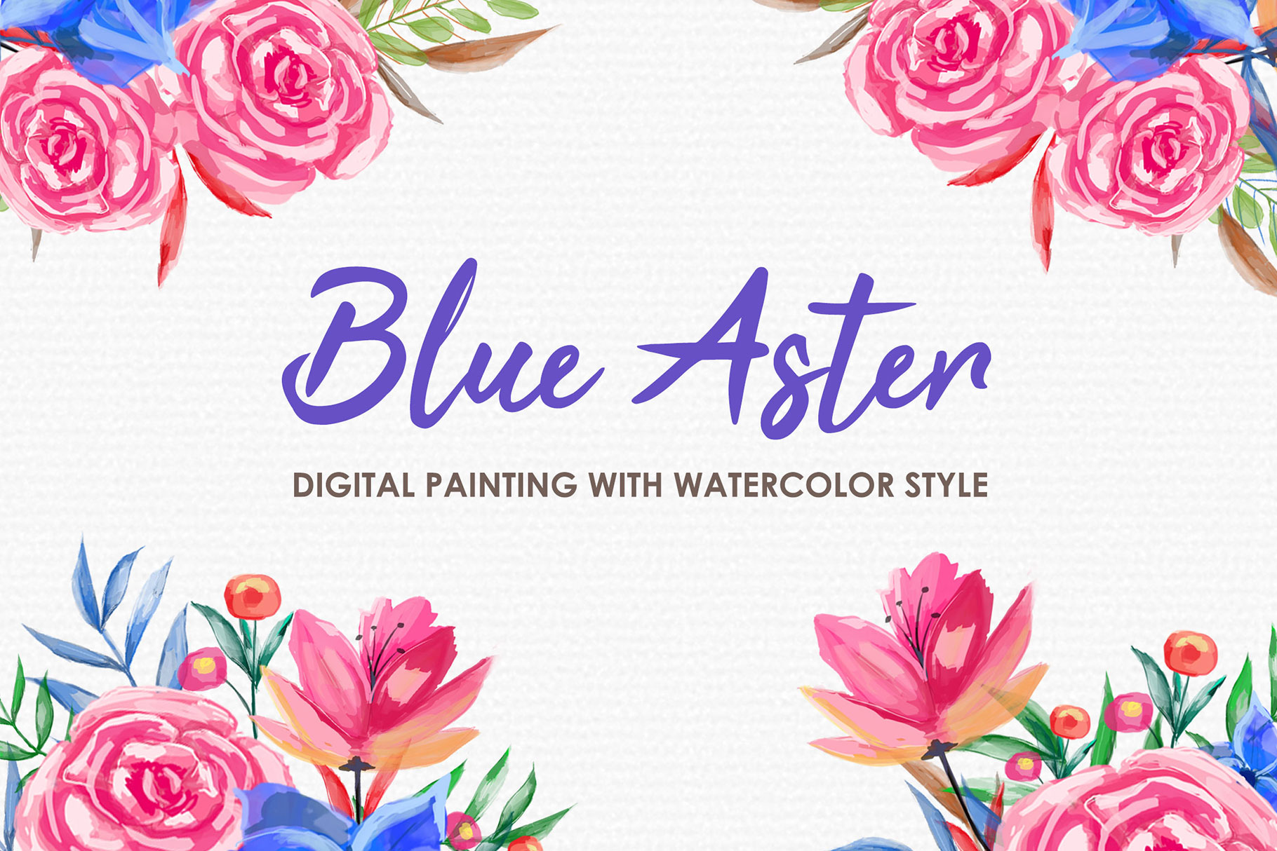 Blue Aster - Digital Watercolor Floral Flower Style Clipart example image 1