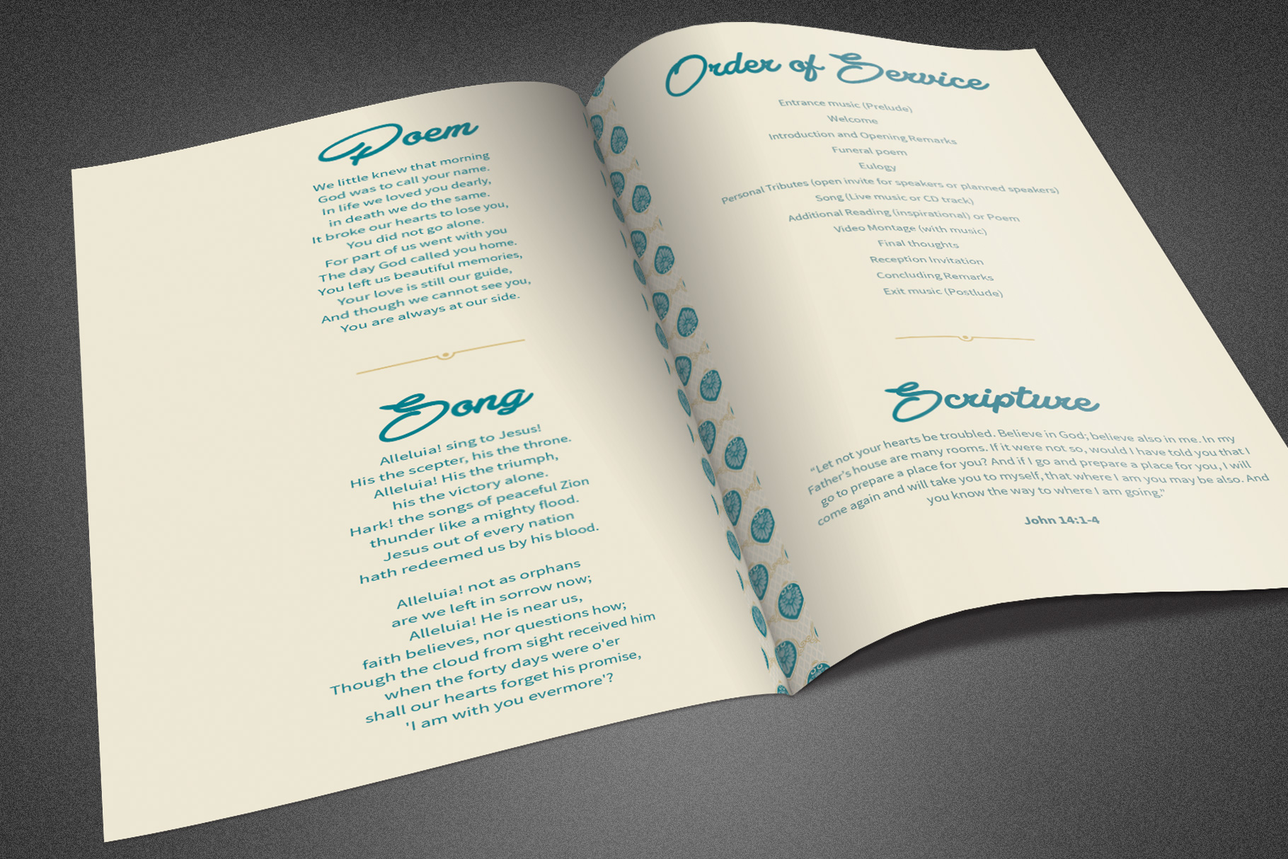 Ornate Funeral Program Template example image 4
