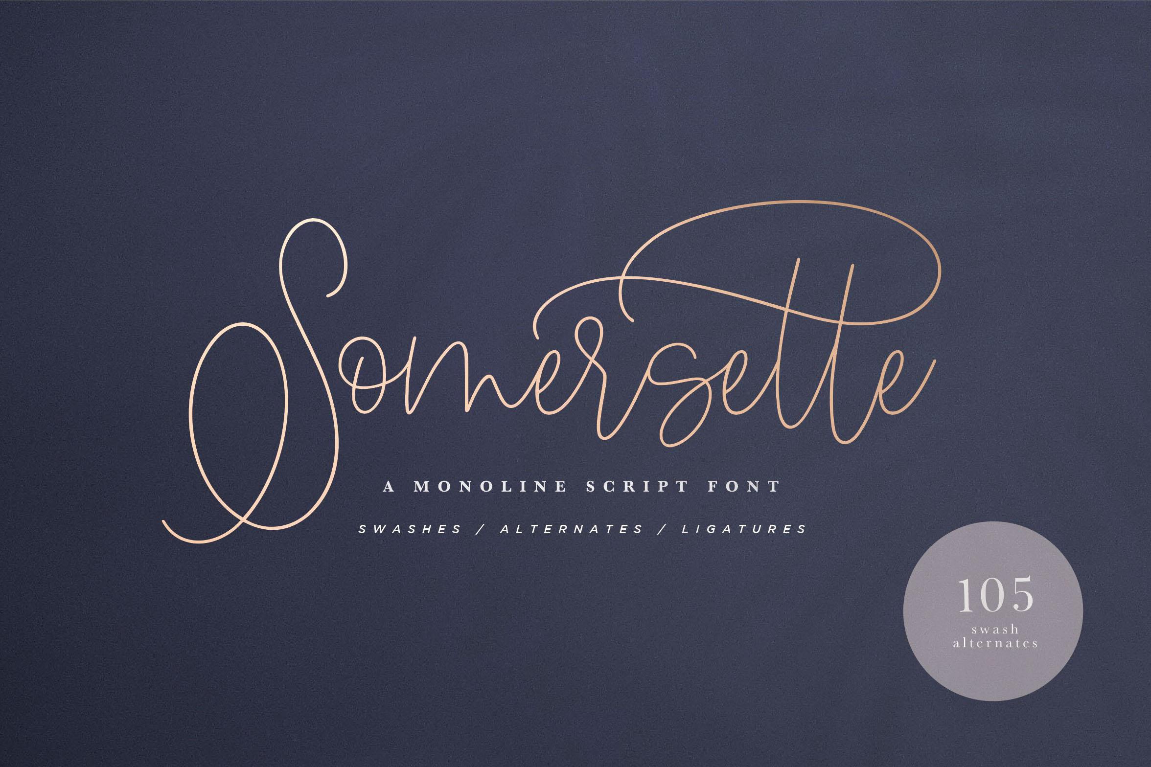 Somersette Script Font example image 1