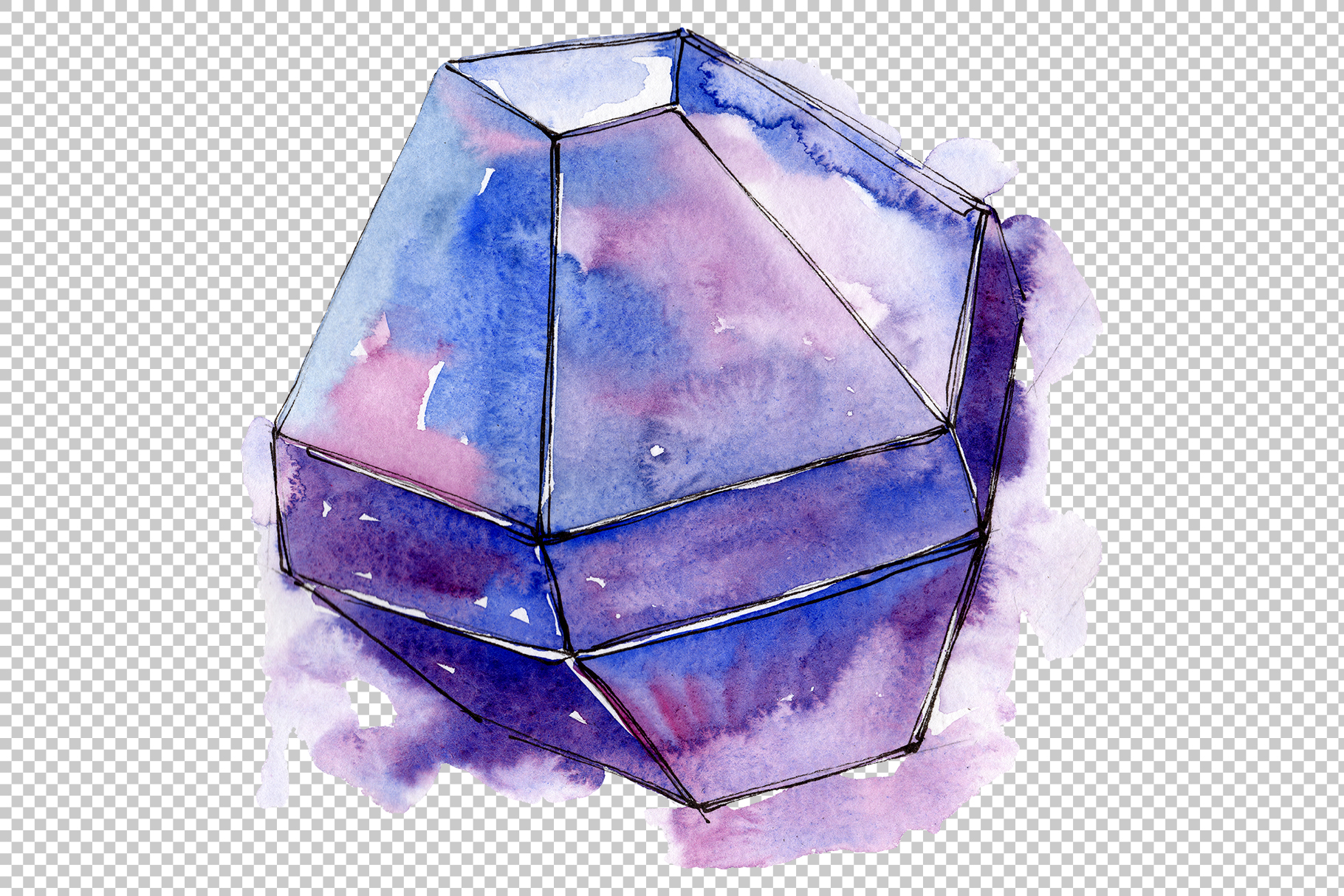 Violet crystals Watercolor png example image 3