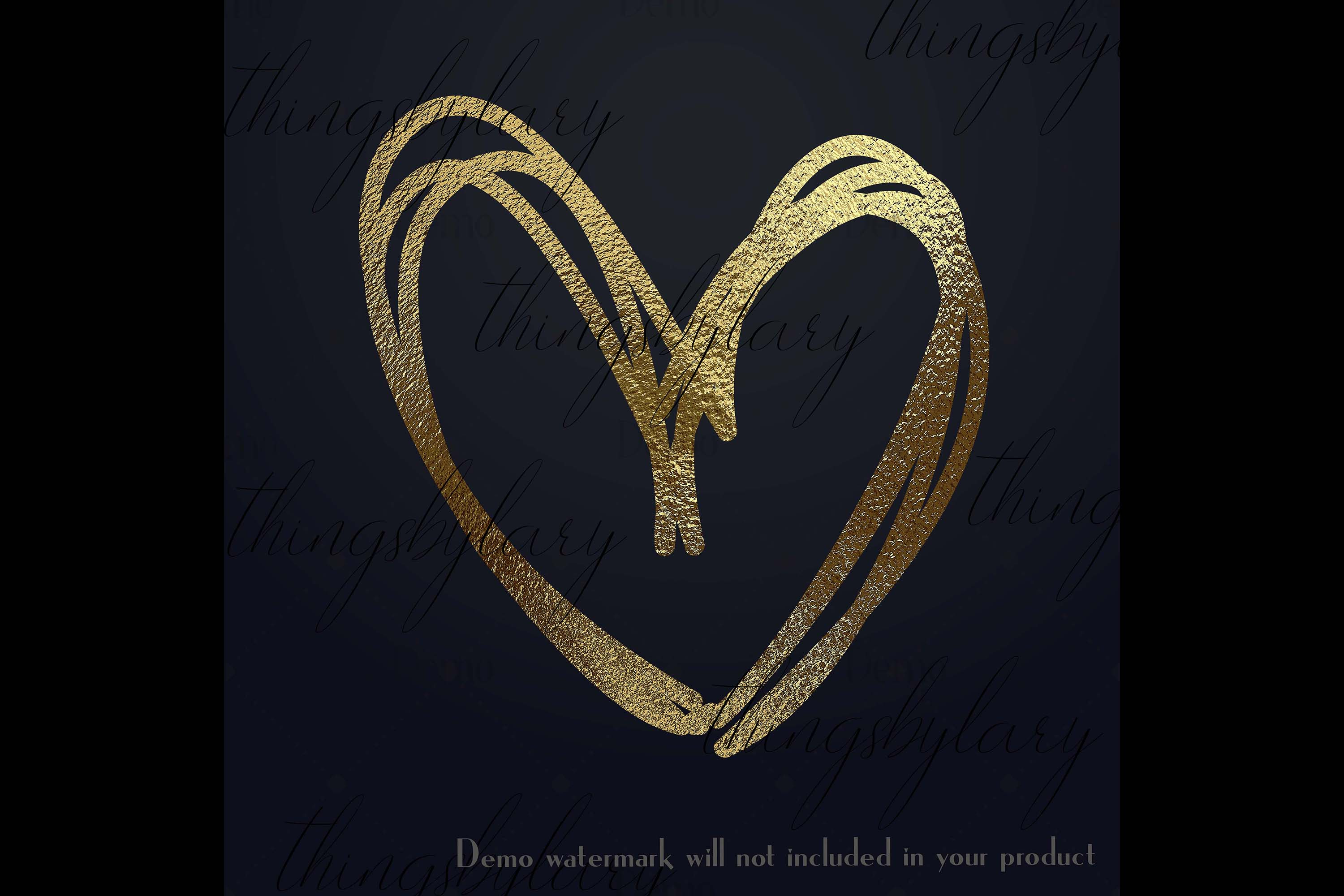 30 Realistic 24k Gold Metallic Hand Drawn Heart Clip Arts example image 4