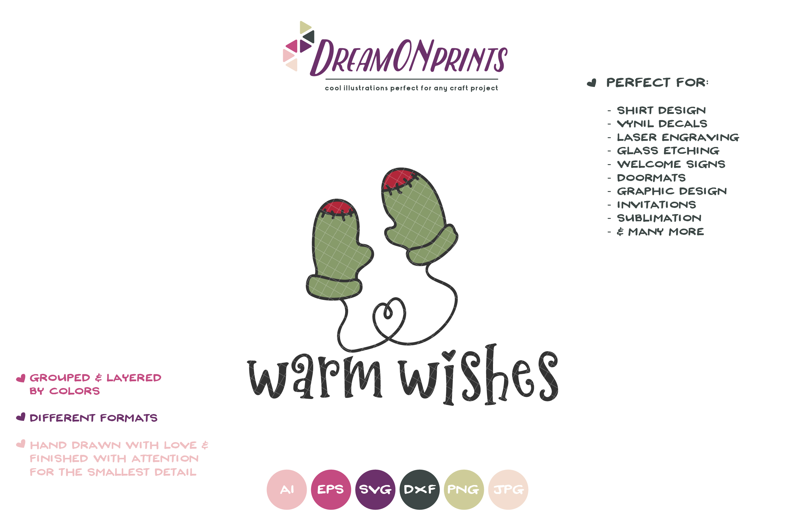 Warm Wishes SVG | Mittens SVG | Christmas SVG Cut Files example image 2