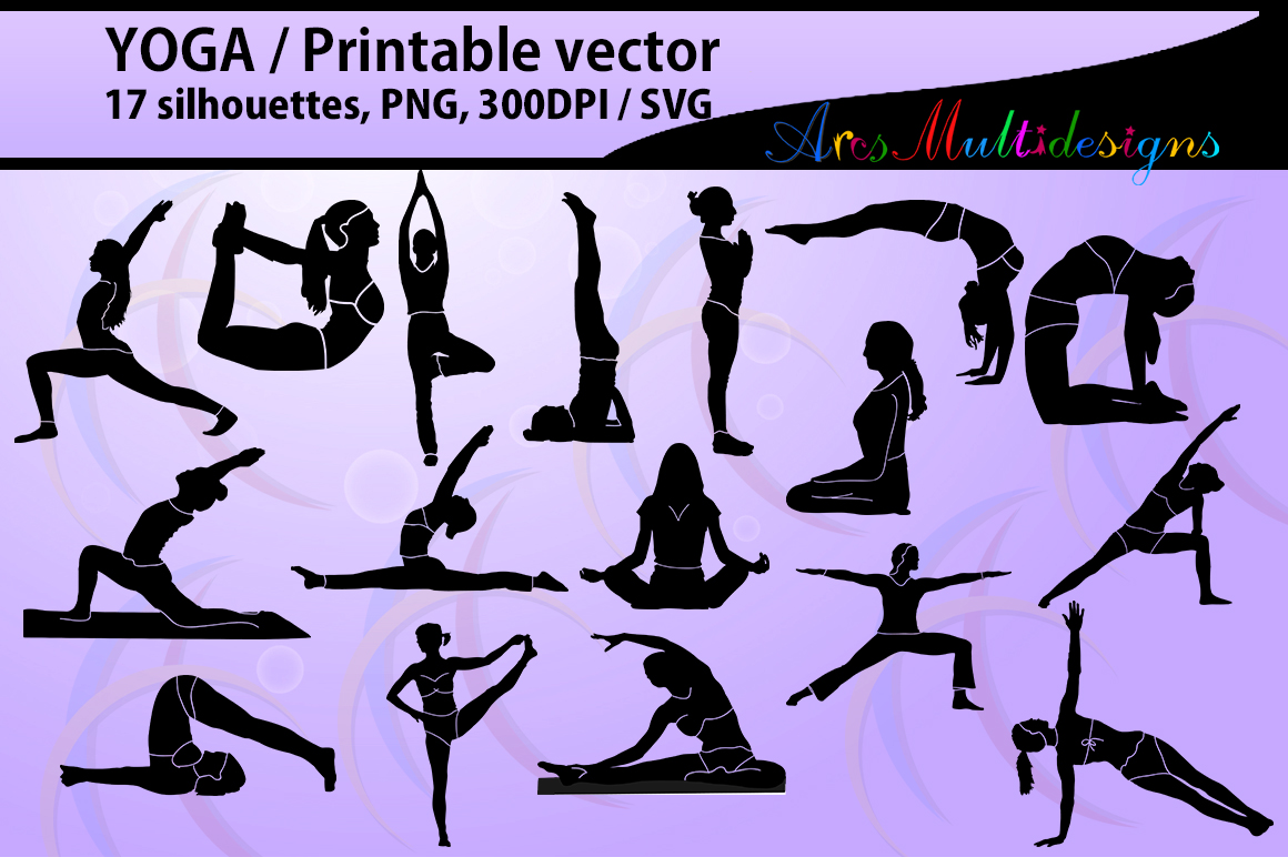 yoga shapes silhouette vector / Yoga / yoga svg  / printable yoga posture / High Quality / vector yoga png / exercise / exercise for health example image 1