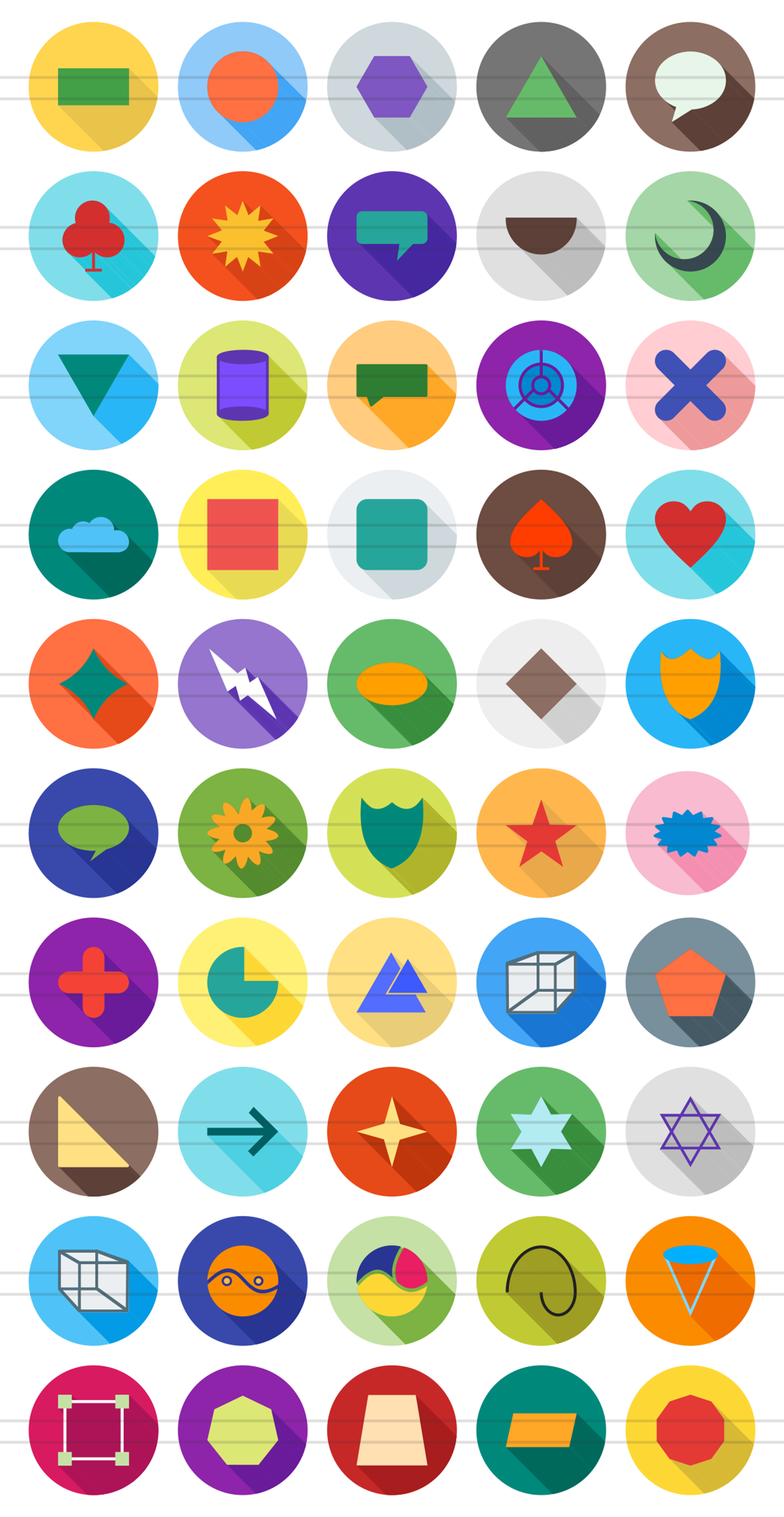 50 Shapes & Geometry Flat Long Shadow Icons example image 2