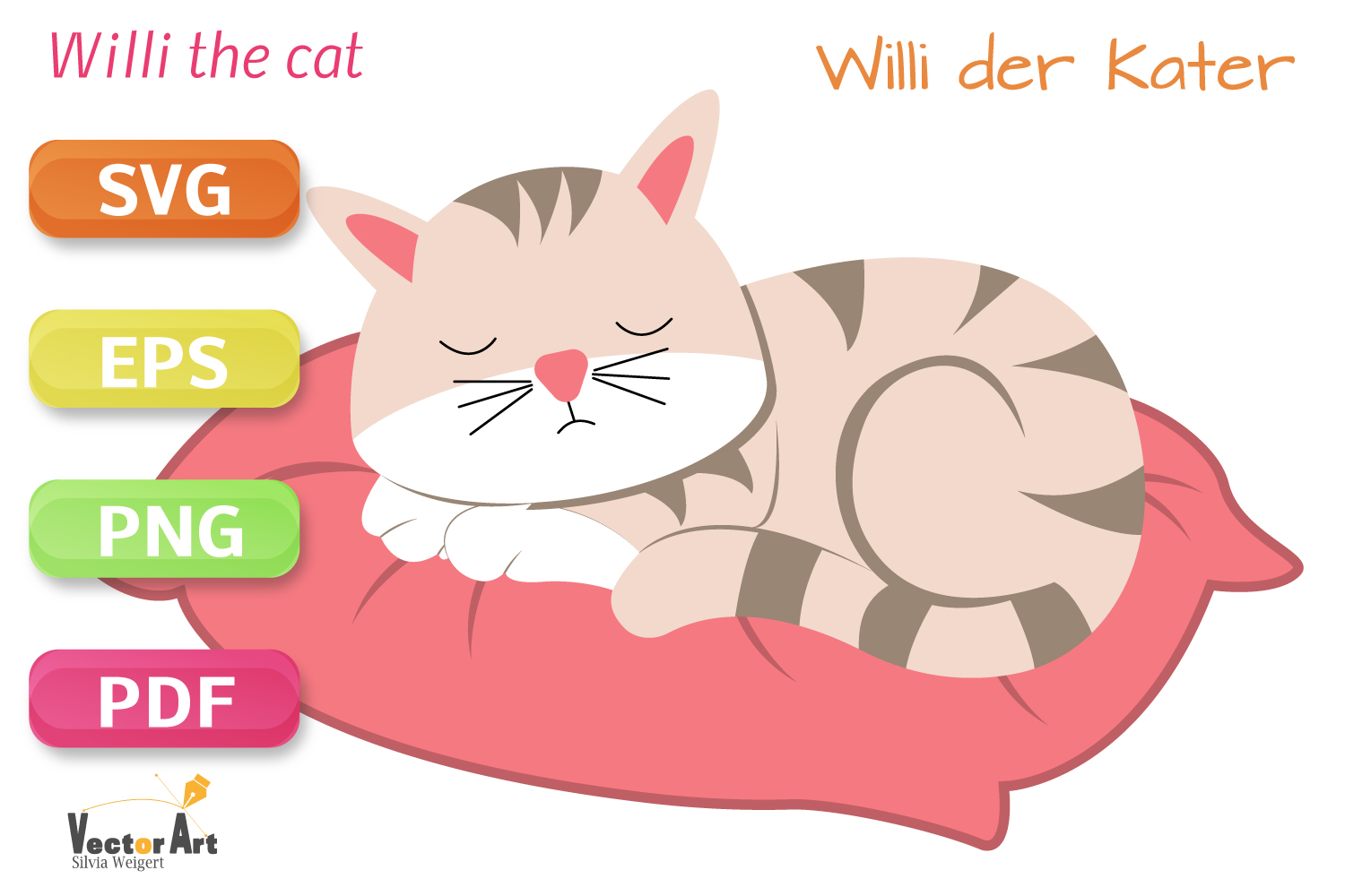 Sleeping Cat - SVG File for Crafters example image 1