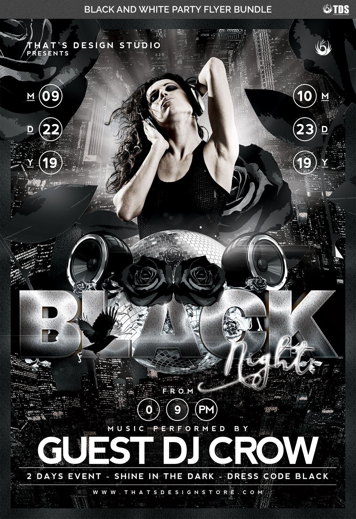 Black and White Party Flyer Bundle example image 6
