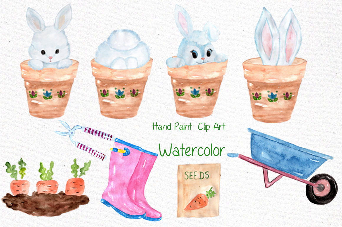 Watercolor garden clipart example image 3