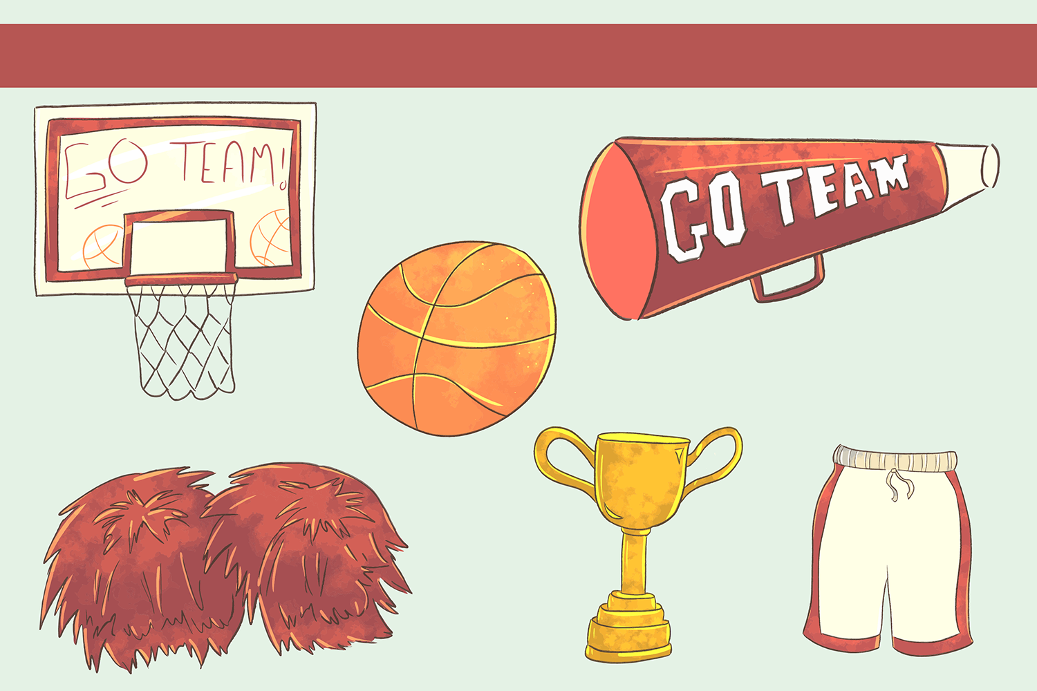 Cute Basketball Illustrations example image 3