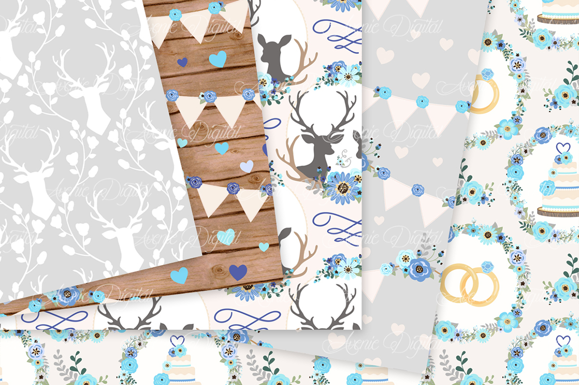 Blue and Grey Wedding Digital Paper - Gray and Blue Rustic Wedding Deer Seamless Patterns example image 2