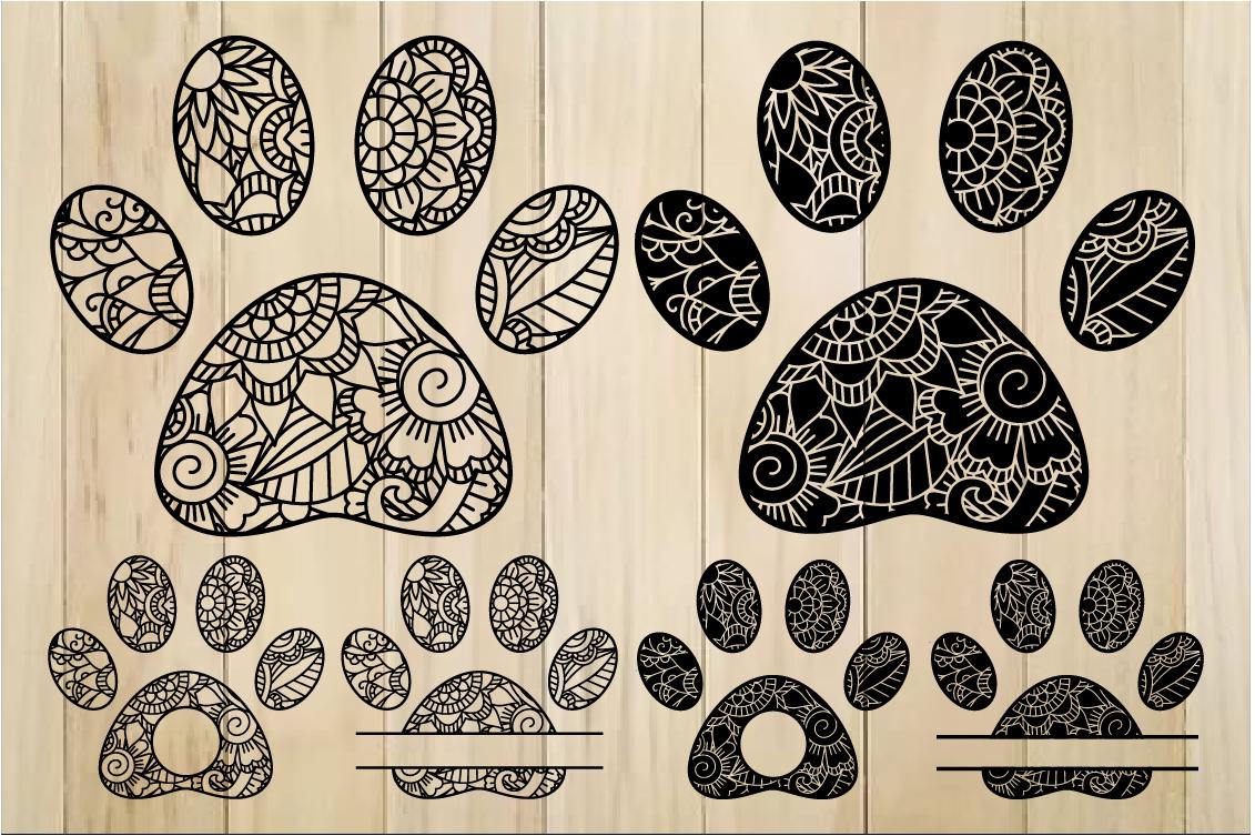 Zentangle Paws SVG, Paw Monogram Frames, Mandala Paw SVG example image 1
