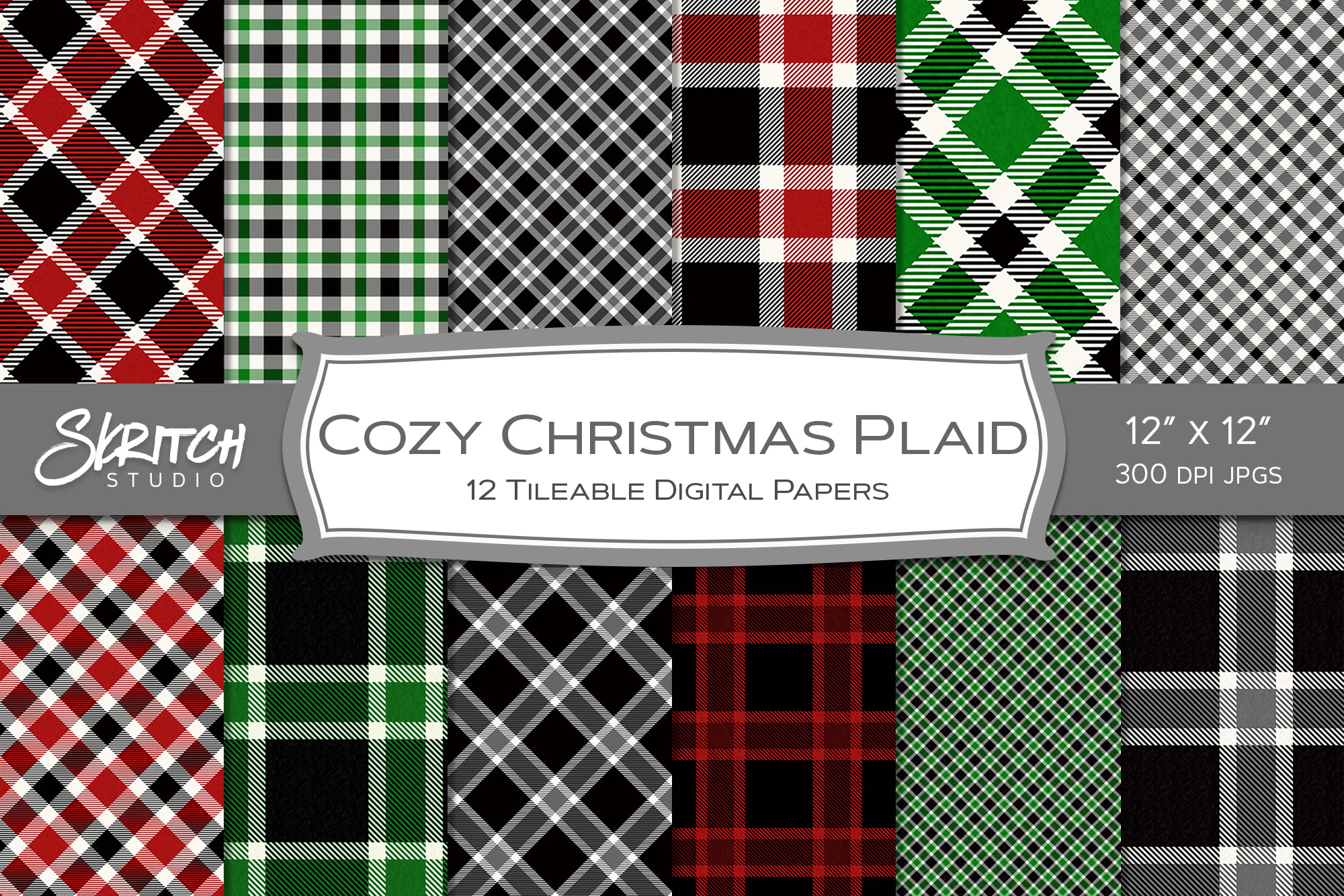Cozy Christmas Plaid 12 Tileable Digital Papers example image 1