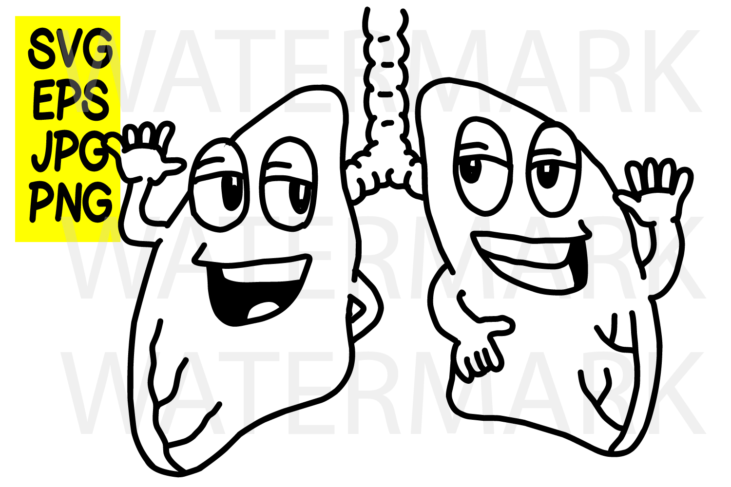 Smiling Lungs - SVG-EPS-JPG example image 1