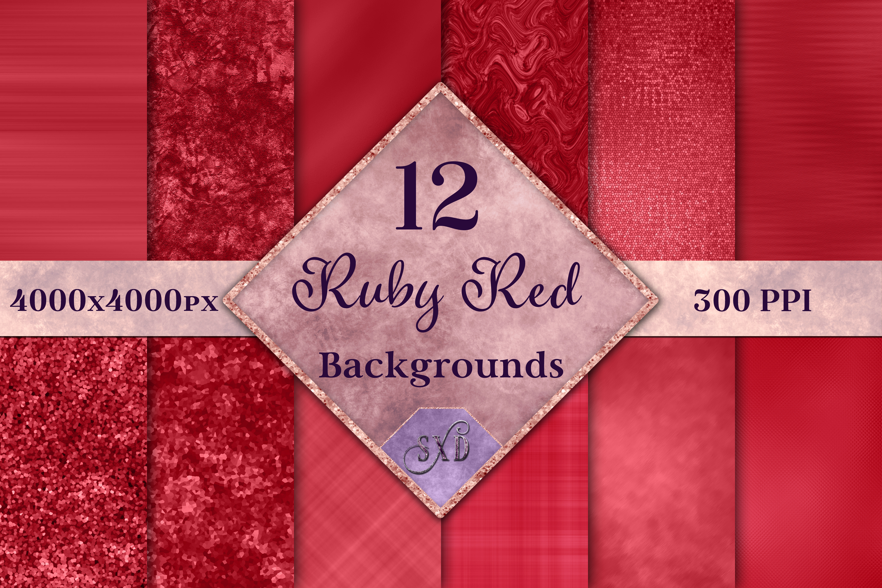 Ruby Red Backgrounds - 12 Image Textures Set example image 1