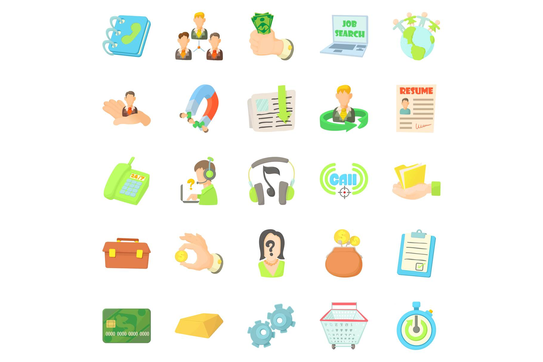 Credit card icons set, cartoon style example image 1