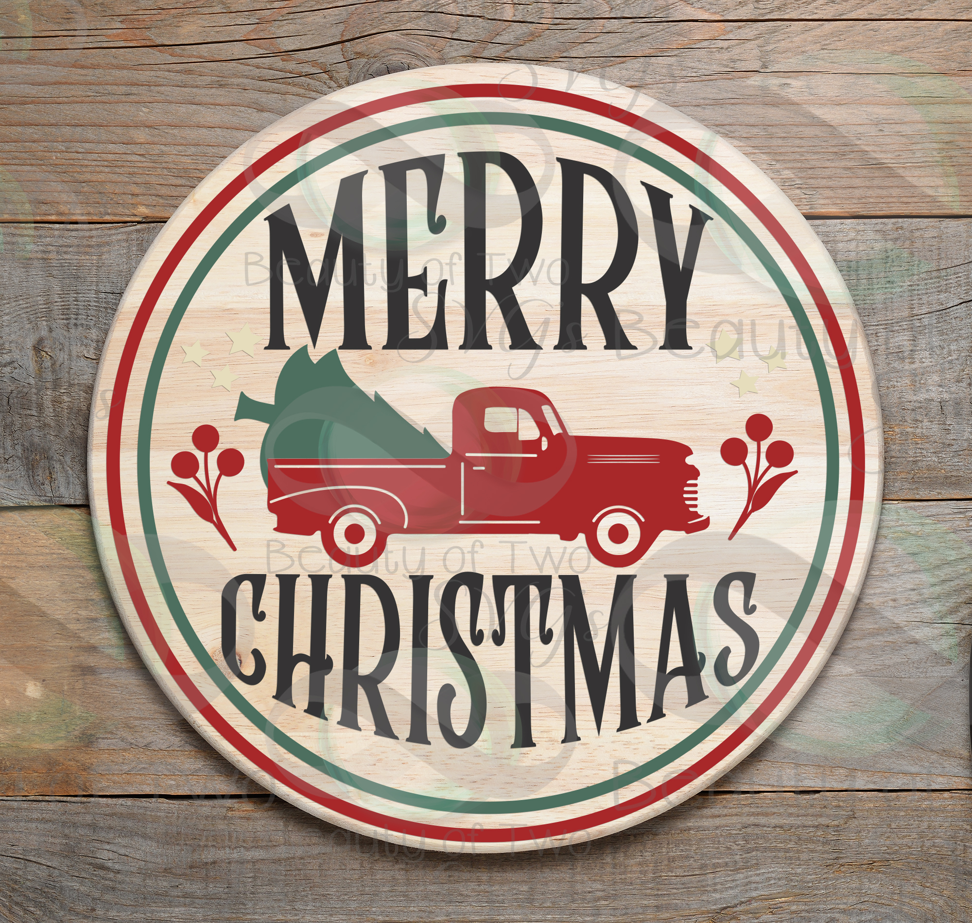 Merry Christmas Red Truck svg, Vintage Christmas sign svg example image 2