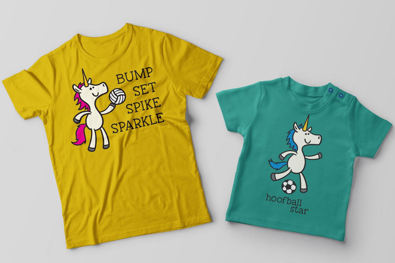 Unicorns Playing Sports - set of 8 unicorn cartooons example image 2
