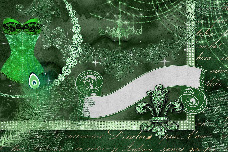 Green Masquerade Digital Scrapbooking Kit example image 2