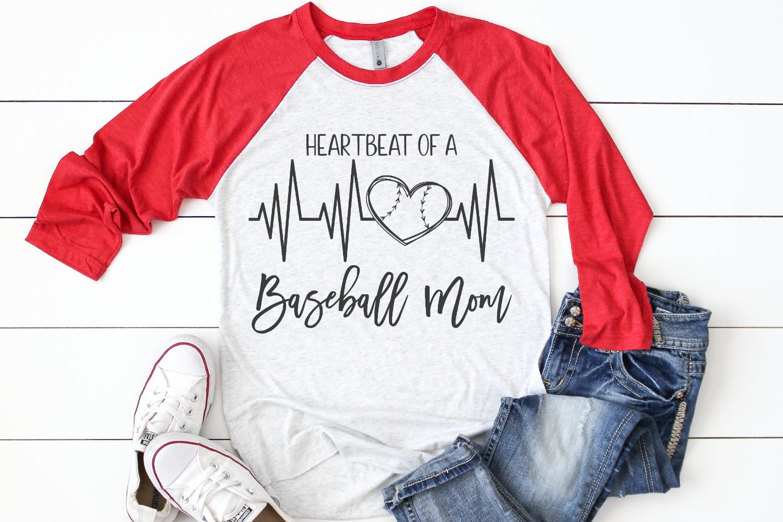 Baseball Mom - Heartbeat Of A Baseball Mom SVG example image 2