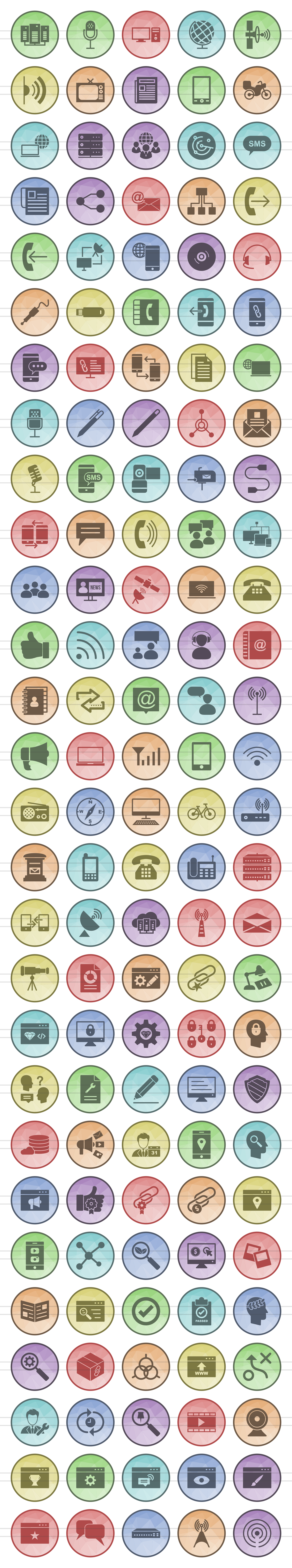 140 IT & Communication Filled Low Poly Icons example image 2